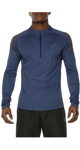 asics Stripe 1/2 Zip LS Men Poseidon Heather